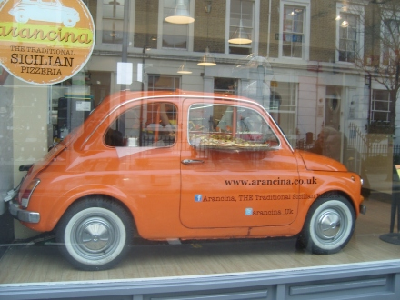 Orange Car in the window